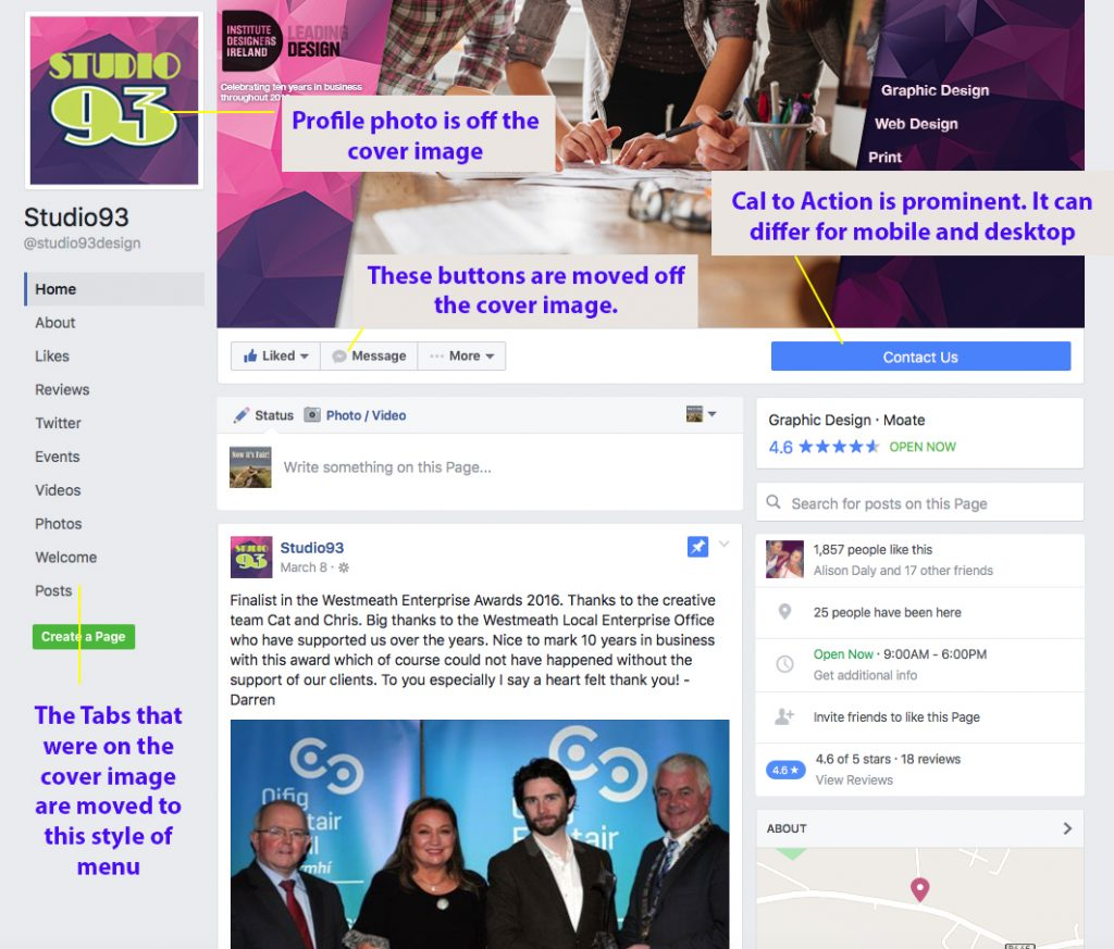 Facebook's New Layout for Business Pages