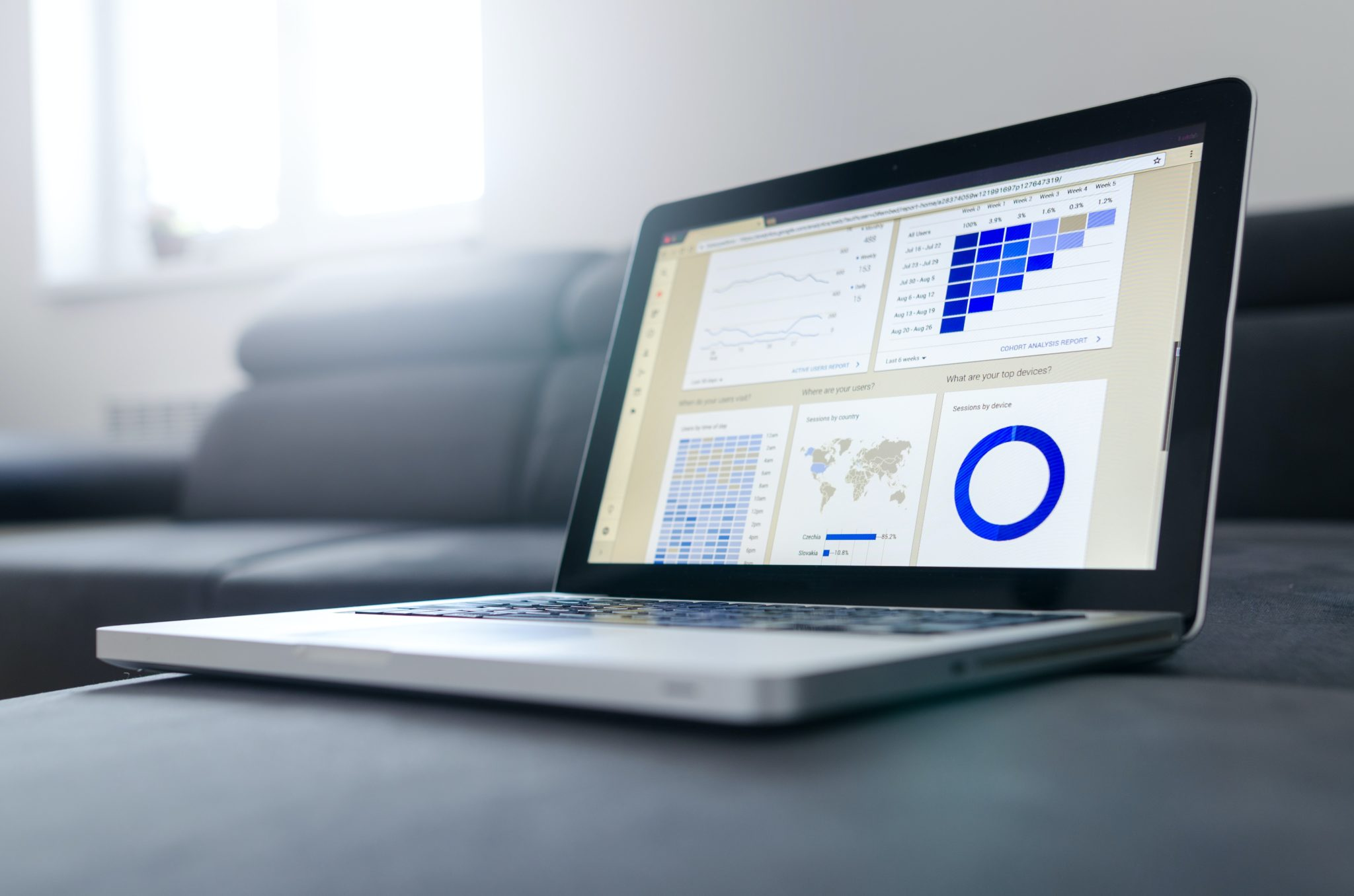 website traffic statistics on laptop